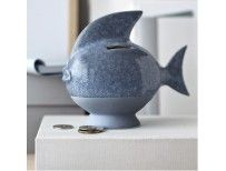 KÄHLER spaarpot SPAREDYR vis blauw-grijs