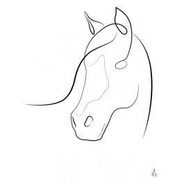 METTE HANDBERG ONE LINE Art Print HORSE A3