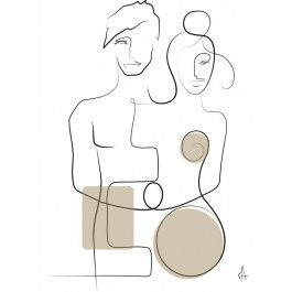 METTE HANDBERG ONE LINE Art Print LOVERS A3